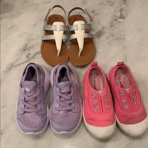 Other - 3 toddler girl shoes sneakers sandals pink sz 9 10